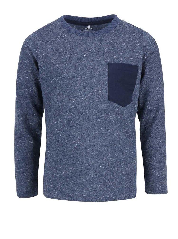 Modré žíhané klučičí tričko s dlouhým rukávem name it Seppe