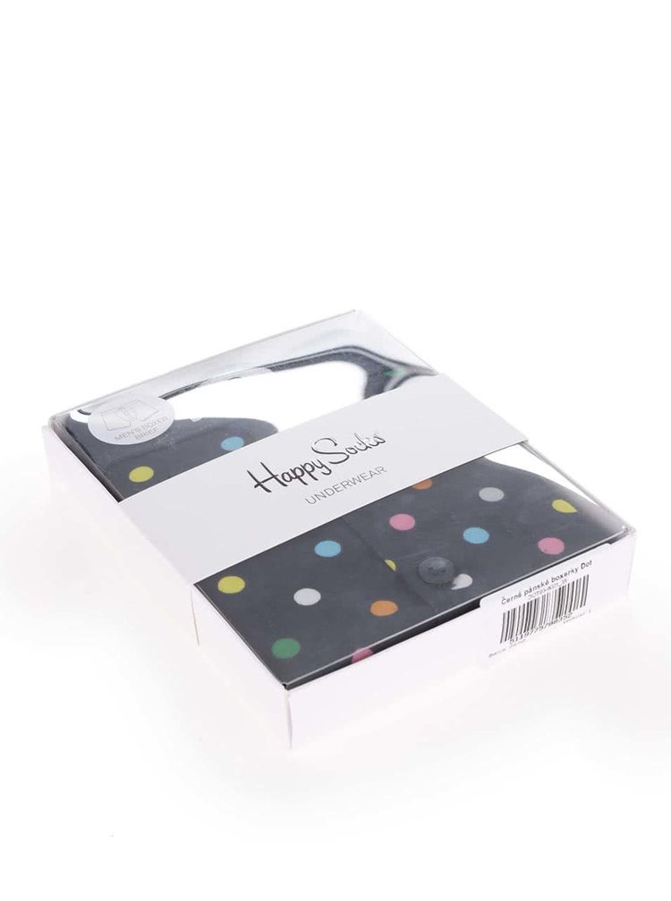 Boxeri negri cu buline multicolore Dot Happy Socks