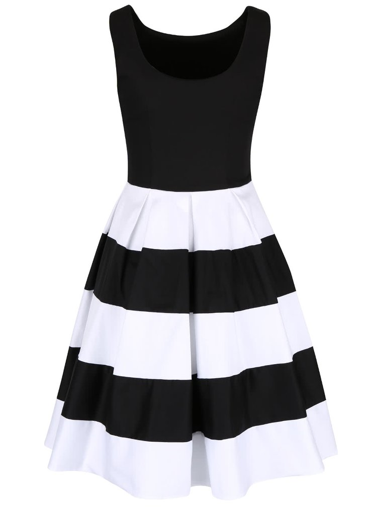 Čierno-biele šaty s pruhovanou sukňou Dolly & Dotty Anna
