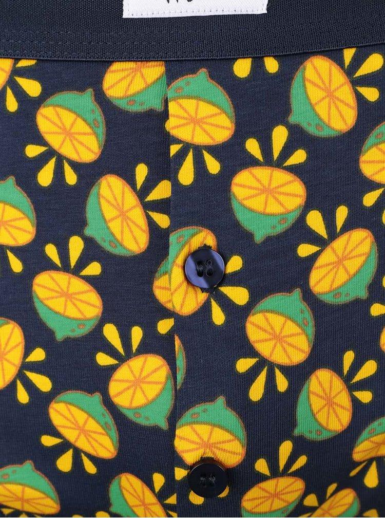 Tmavomodré boxerky so vzorom Lime Happy Socks