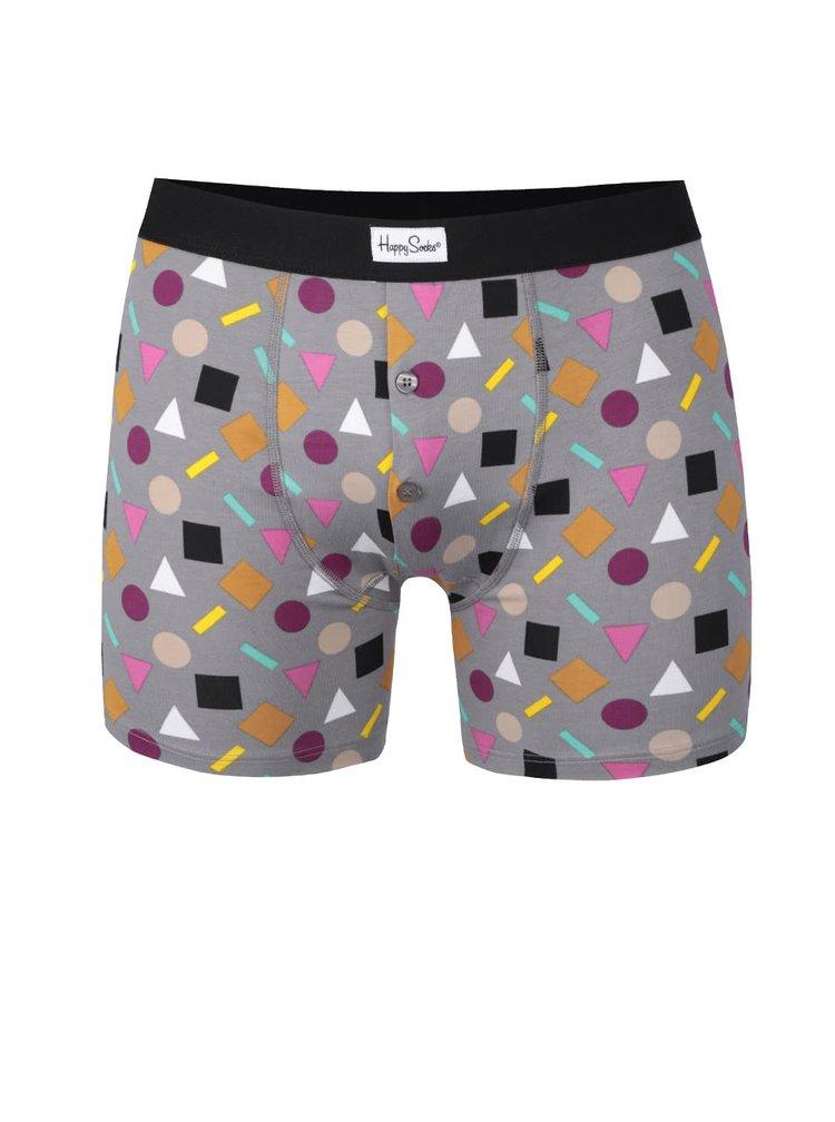 Boxeri gri cu imprimeu geometric Play Happy Socks