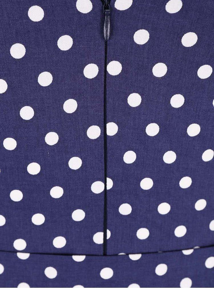 Tmavomodré bodkované šaty s opaskom Dolly & Dotty Wendy