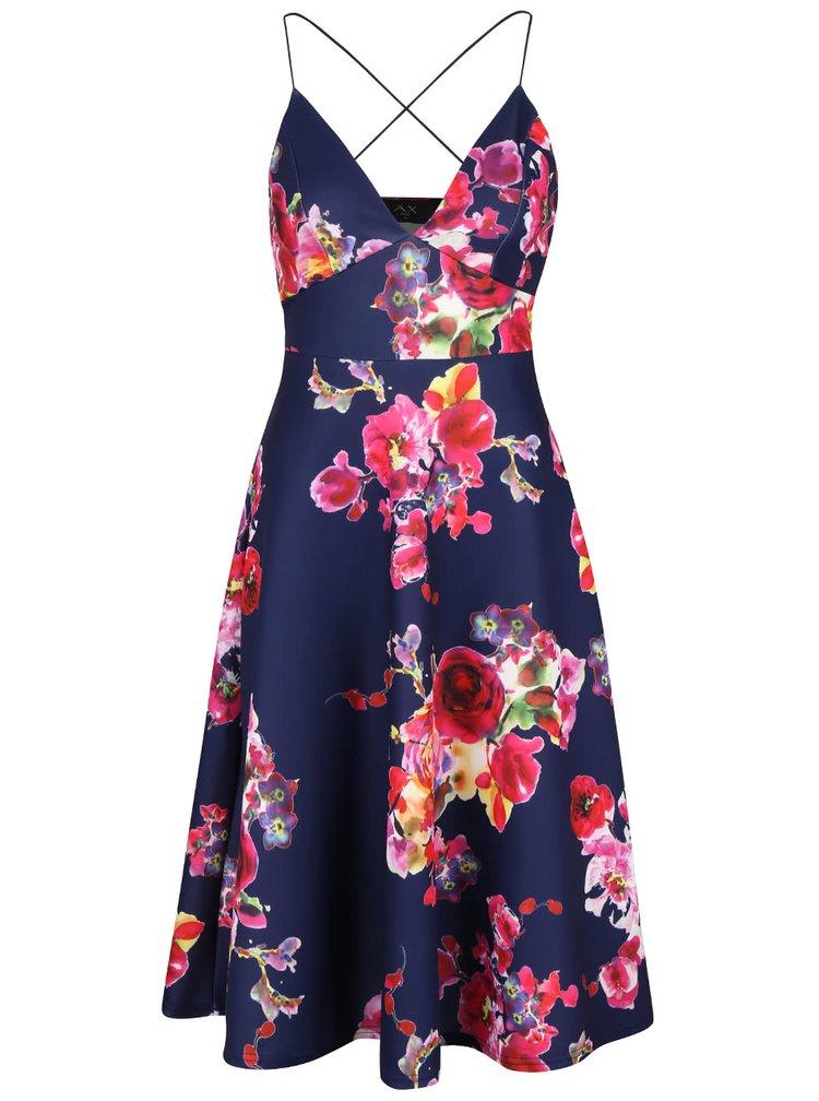 Tmavomodré šaty s kvetovaným vzorom AX Paris