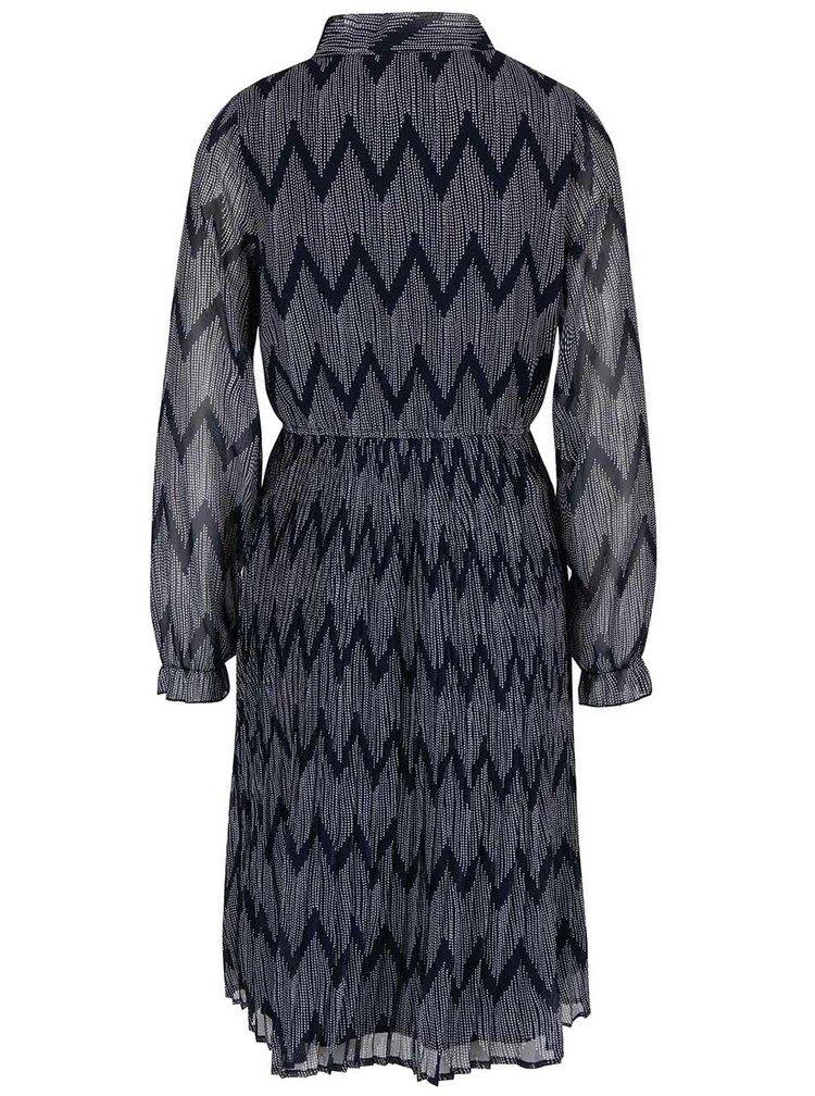 Tmavě modré vzorované šaty s dlouhým rukávem a plisovanou sukní Mela London