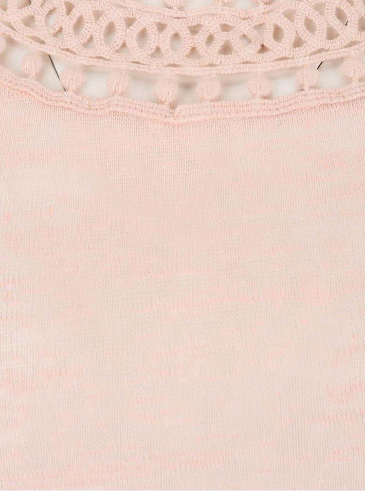 Top roz piersică din jerseu cu decupaje VERO MODA Silvana