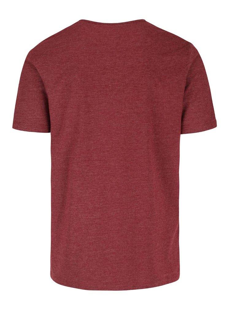 Vínové melírované tričko Original Penguin Jersey