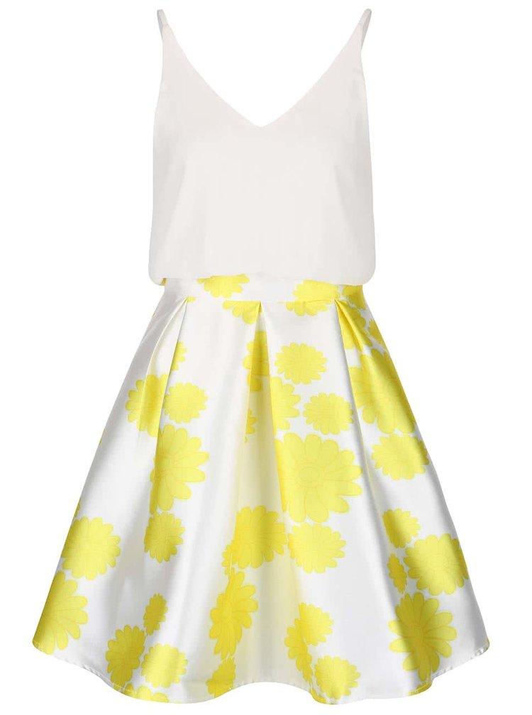 Krémové šaty se žlutými květy AX Paris