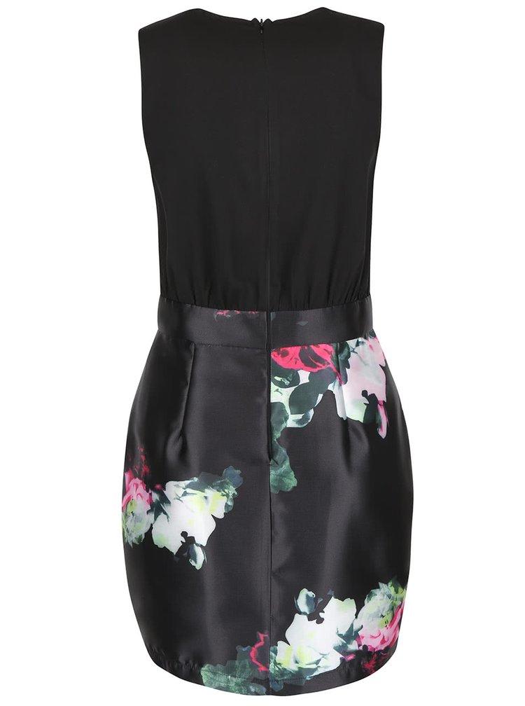 Černé šaty s barevnými květy AX Paris