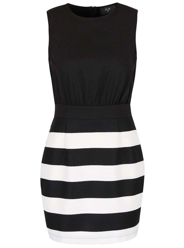 Bílo-černé šaty s pruhovanou sukní AX Paris