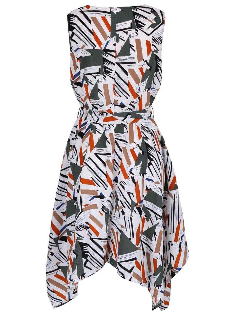 Krémové vzorované šaty s prodlouženými cípy Mela London