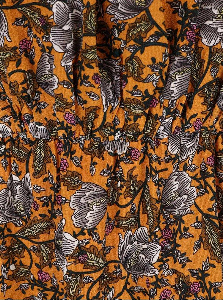 Oranžové květované maxišaty se stažením v pase Mela London