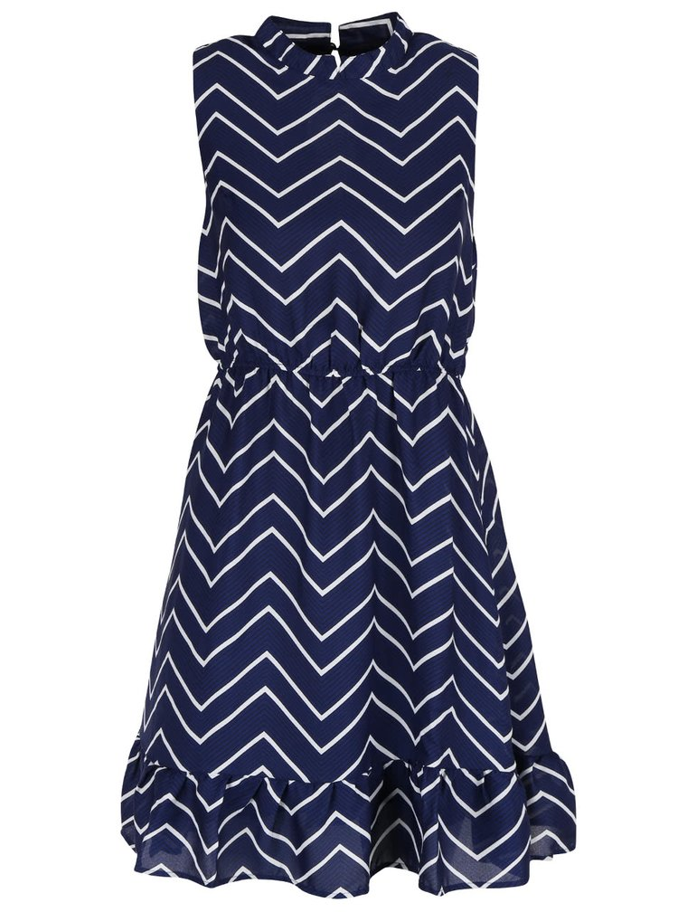 Bielo-modré vzorované šaty so stojačikom a volánom Mela London