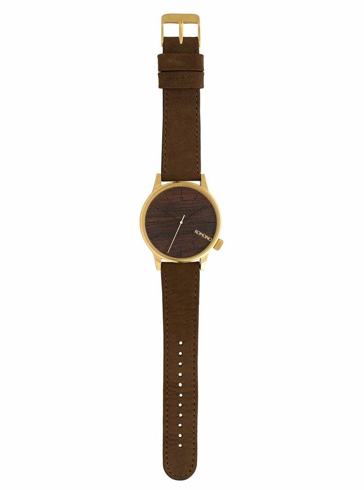 Pánske hodinky v zlatej farbe s hnedým koženým remienkom Komono Winston