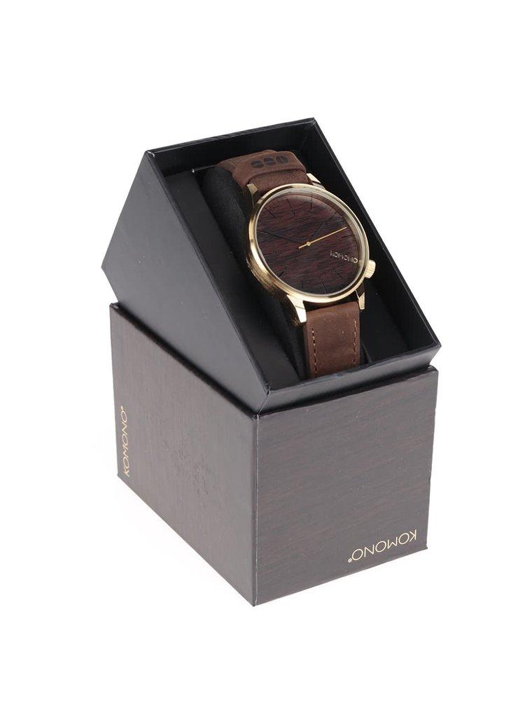 Pánské hodinky ve zlaté barvě s hnědým koženým páskem Komono Winston