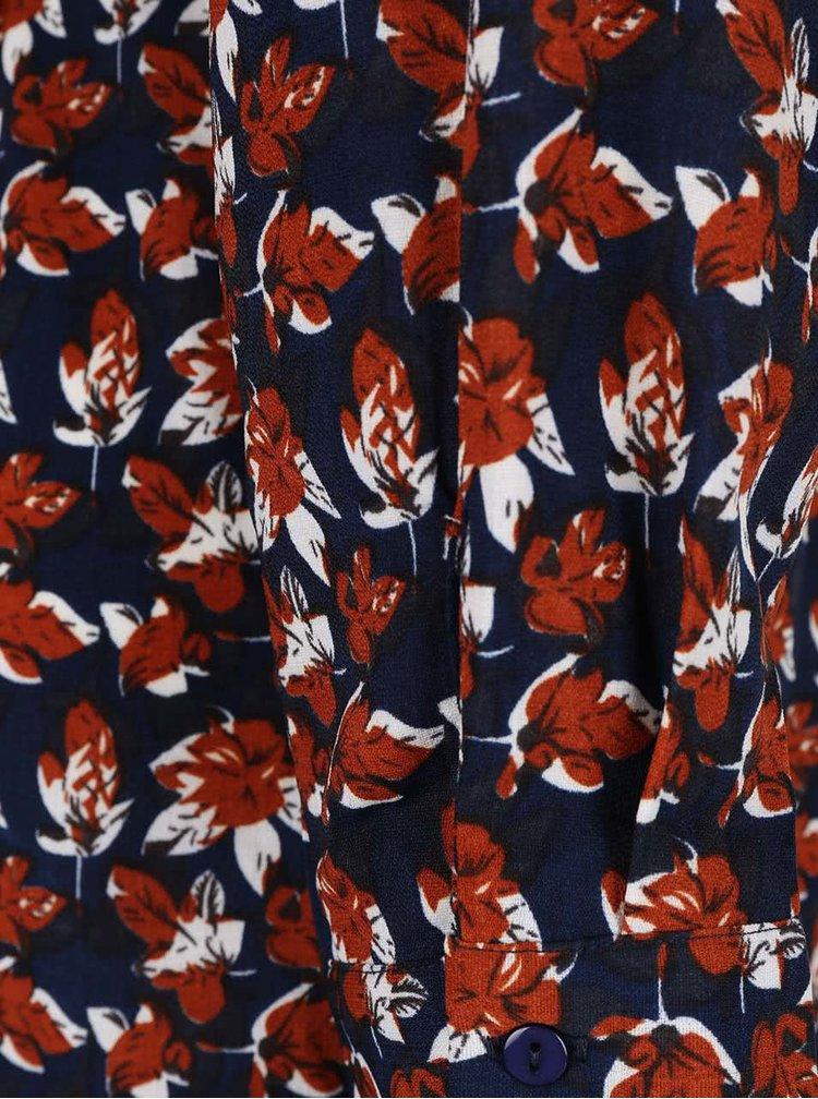 Tmavě modré košilové šaty s potiskem listů Mela London
