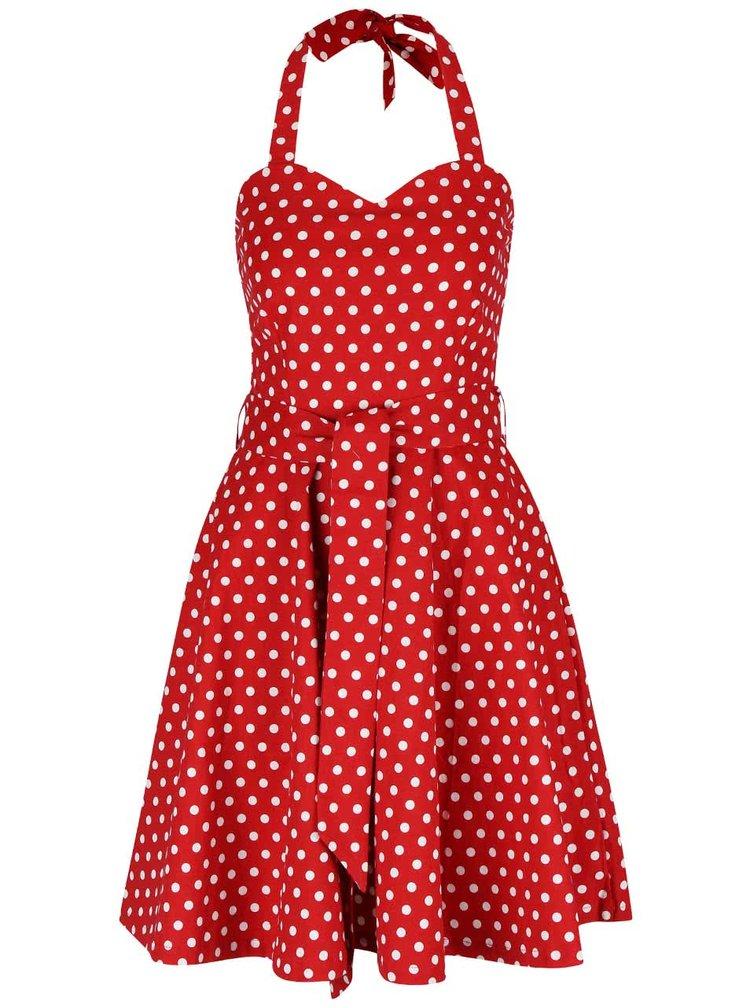 Červené puntíkované šaty na zavazování za krk Dolly & Dotty Penny