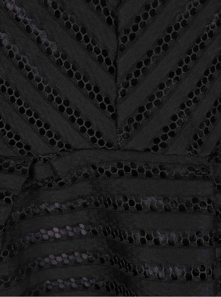 Čierne šaty s priehľadnou vrchnou časťou Mela London