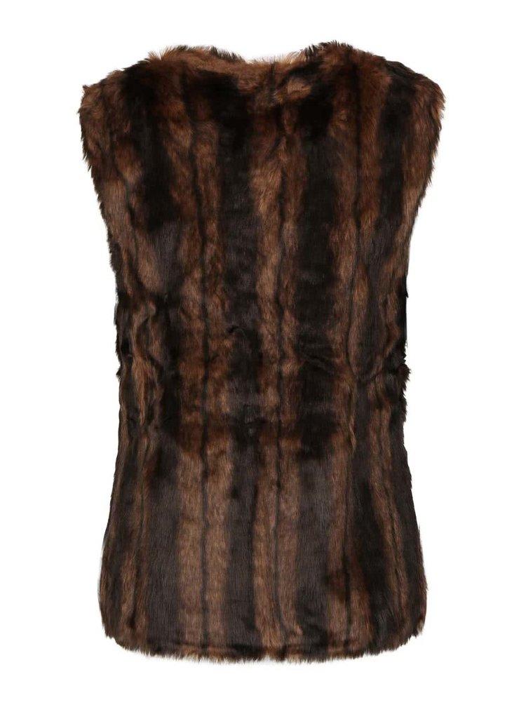 Hnědá vesta z umělé kožešiny Mela London