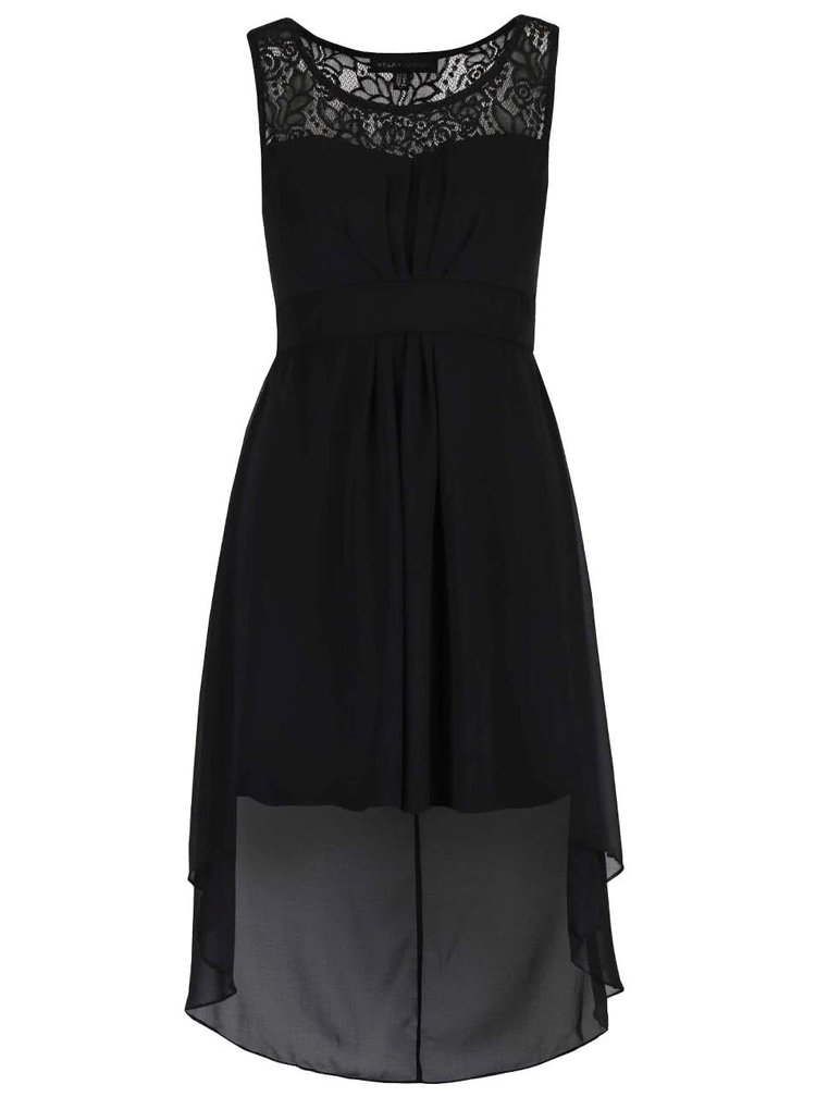 Čierne šaty s predĺženým zadným dielom Mela London