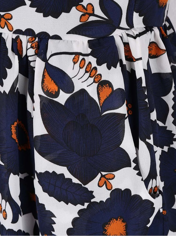 Krémové kvetované šaty s 3/4 rukávmi Mela London