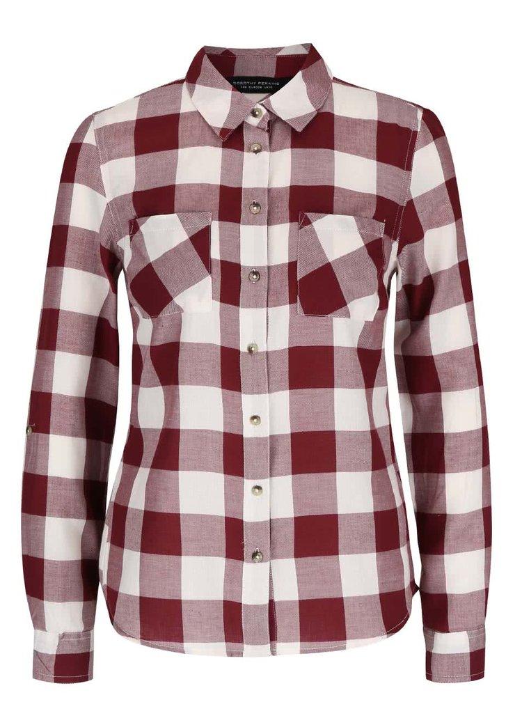 Vínová kockovaná košeľa Dorothy Perkins