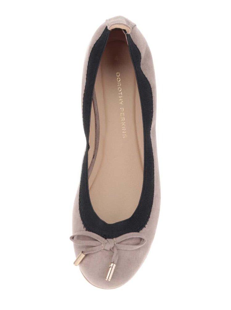 Béžové baleríny v semišové úpravě Dorothy Perkins