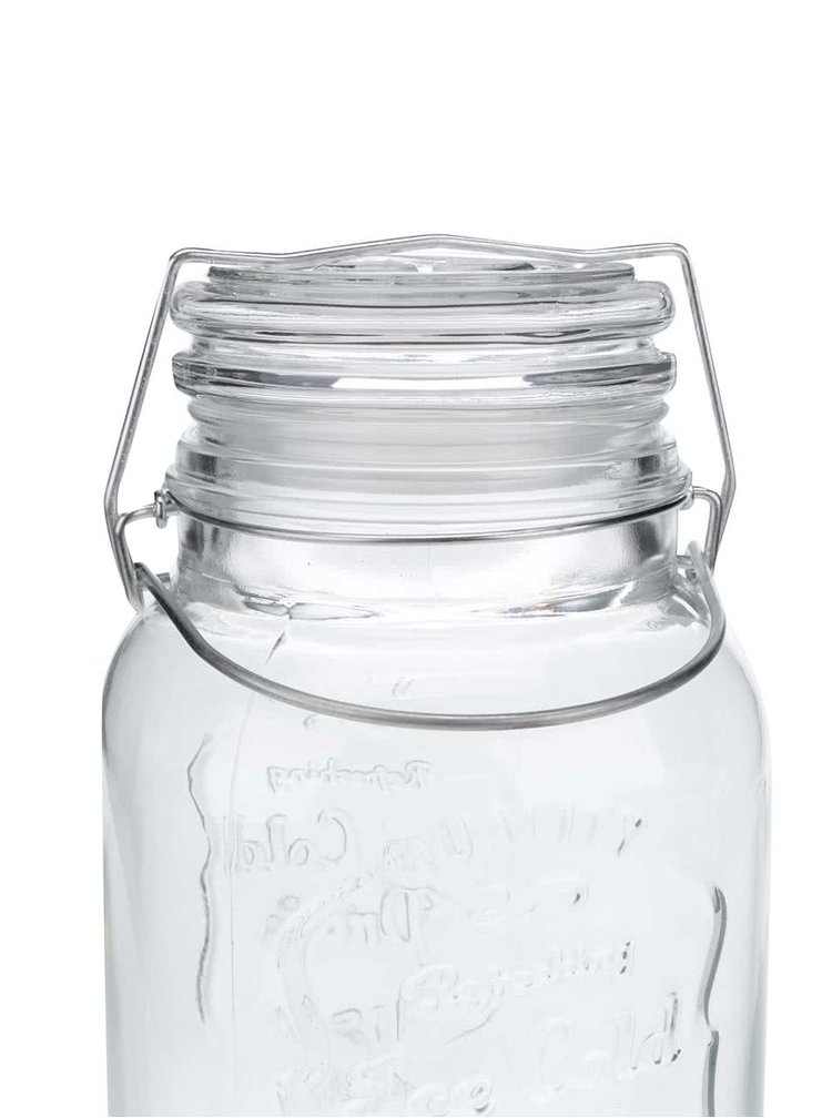 Čirá skleněná nádoba na limonádu s kohoutkem CGB