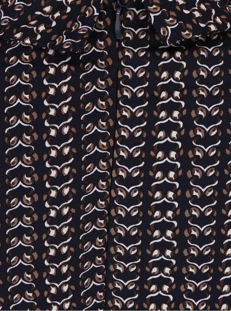 Tmavě modré vzorované šaty s límečkem Mela London