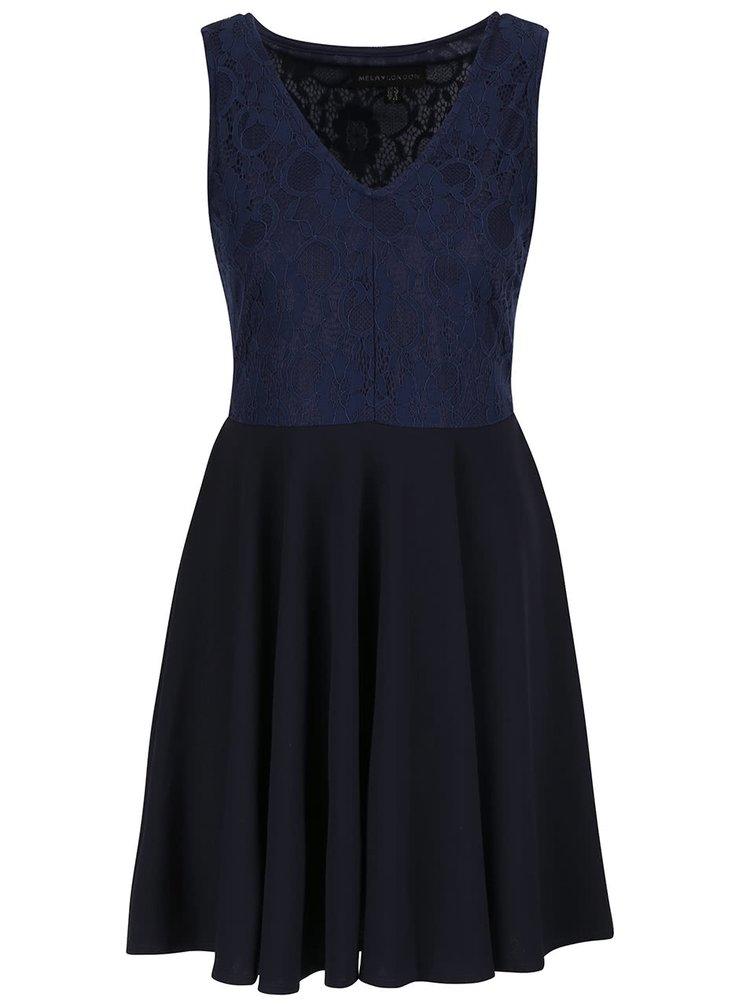 Tmavě modré šaty s krajkovým topem Mela London