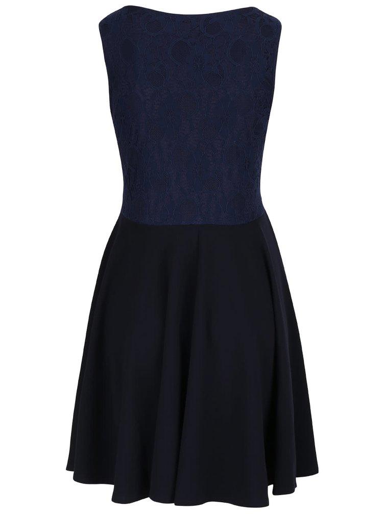 Tmavomodré šaty s čipkovaným topom Mela London