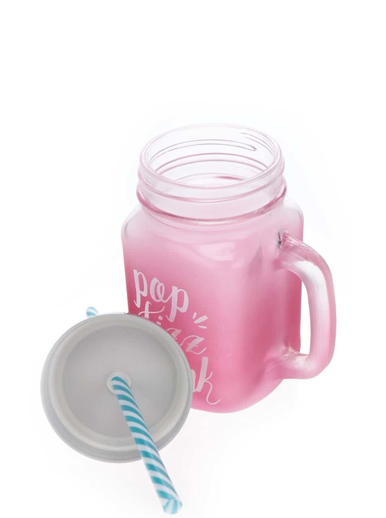 Růžový skleněný hrnek s brčkem CGB