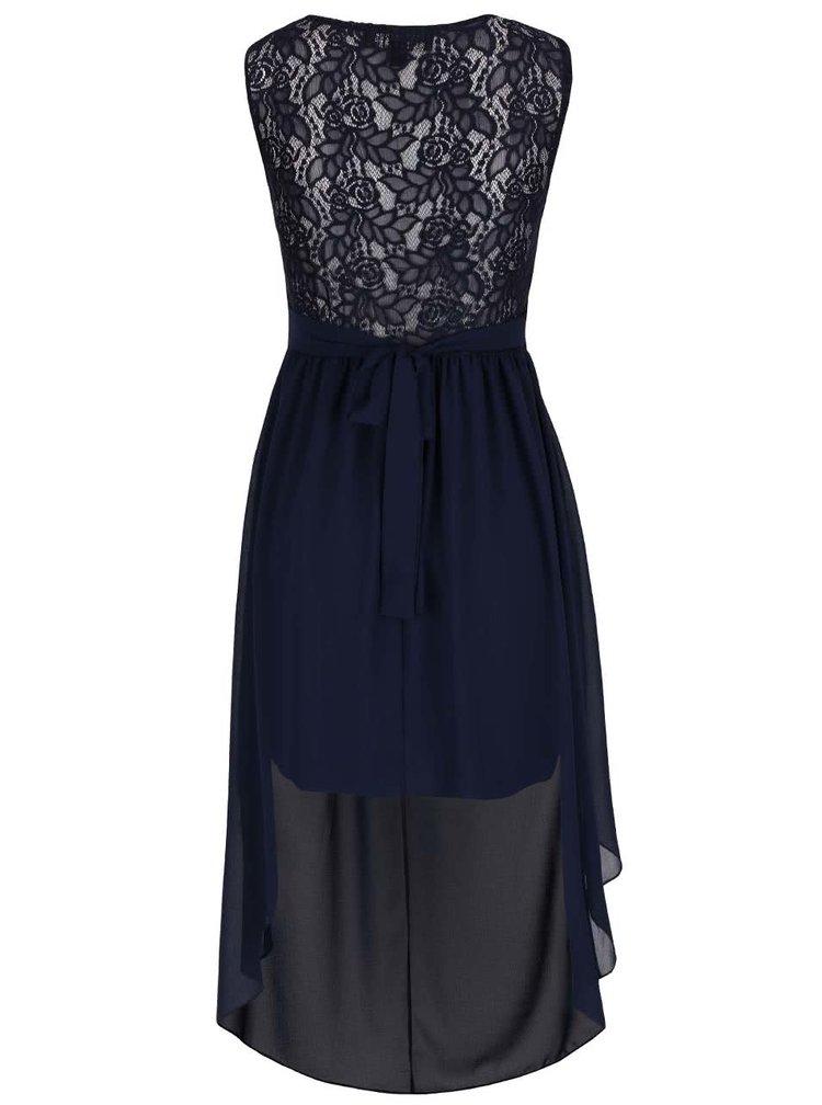 Tmavomodré šaty s predĺženým zadným dielom Mela London