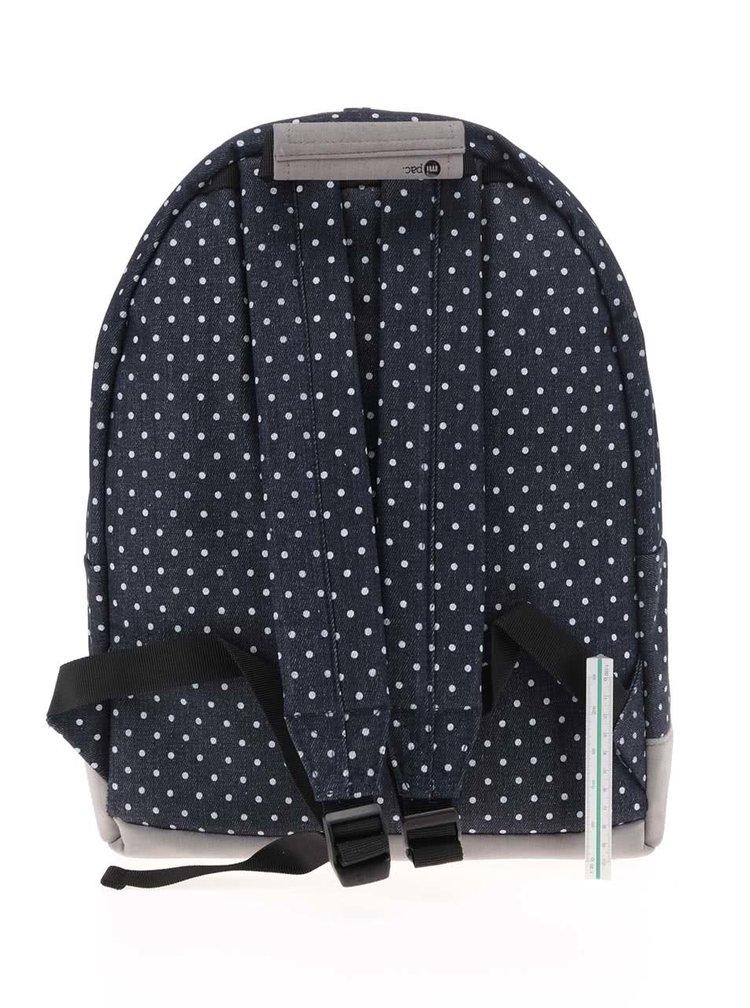 Tmavě modrý batoh s bílými puntíky Mi-Pac Denim Spot