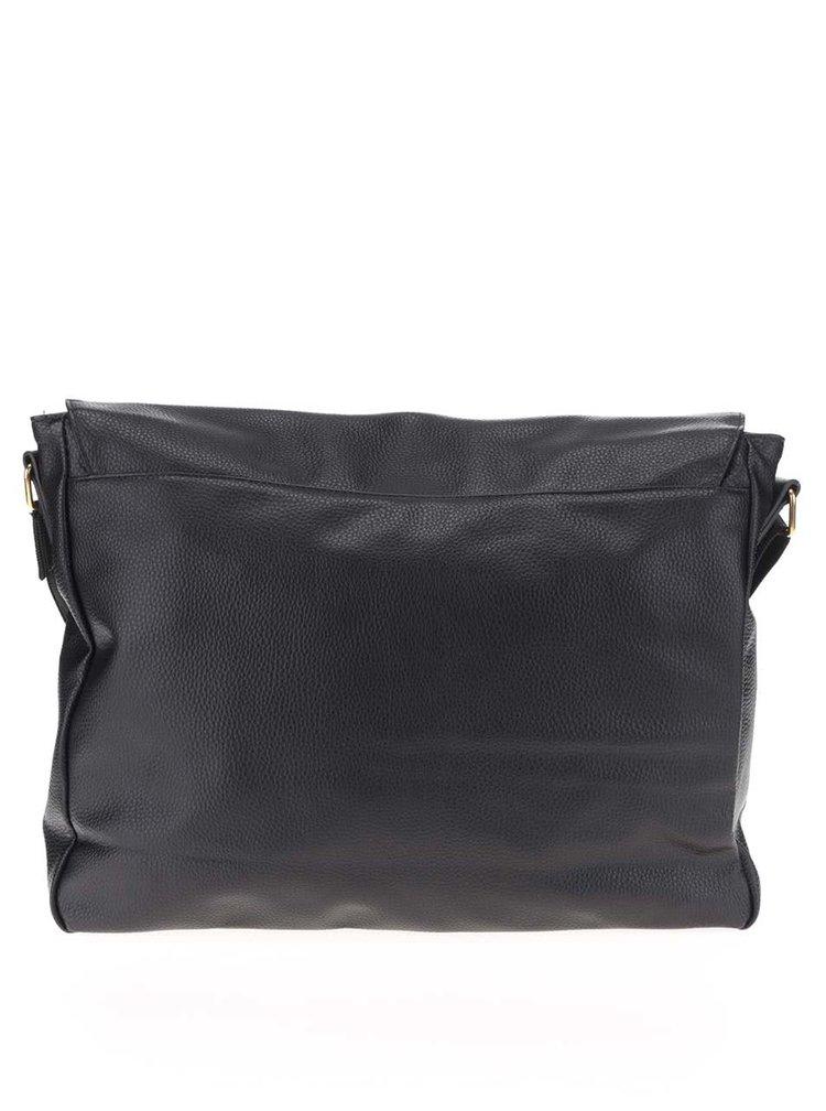 Černá pánská koženková taška přes rameno Mi-Pac Messenger