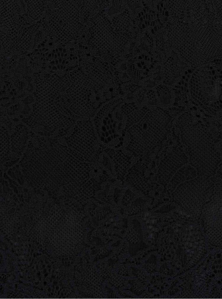 Černé krajkové tričko s průstřihy na ramenou TALLY WEiJL
