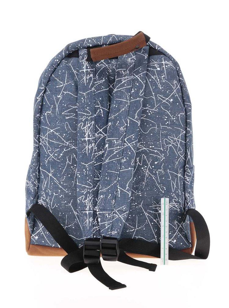 Hnedo-modrý batoh s bielym vzorom Mi-Pac Denim Squiggle 17 l