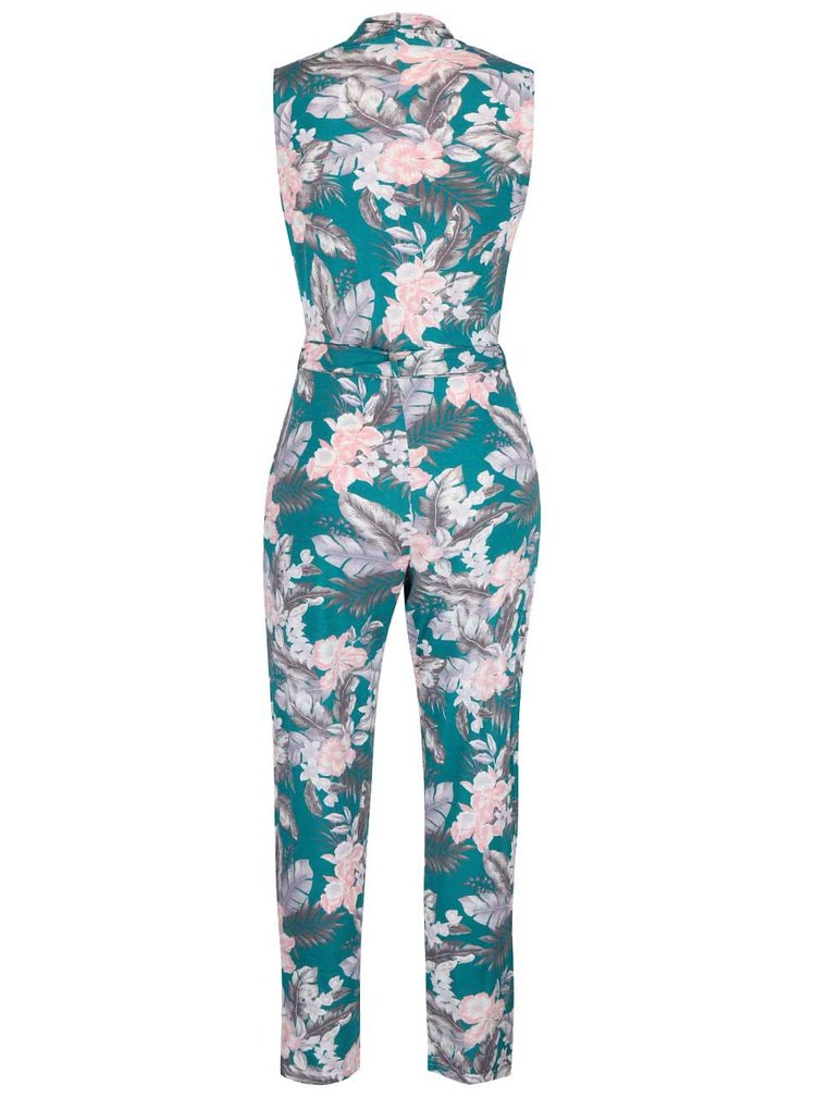 Salopeta verde cu model floral Miss Selfridge fara maneci