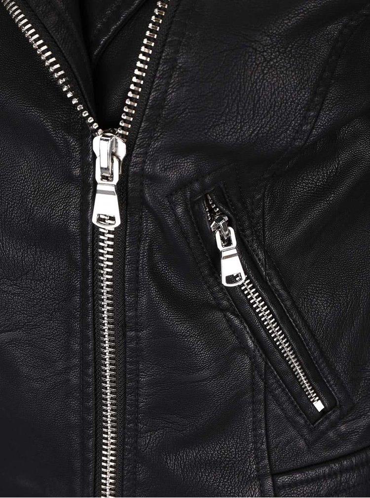 Čierna koženková bunda Miss Selfridge