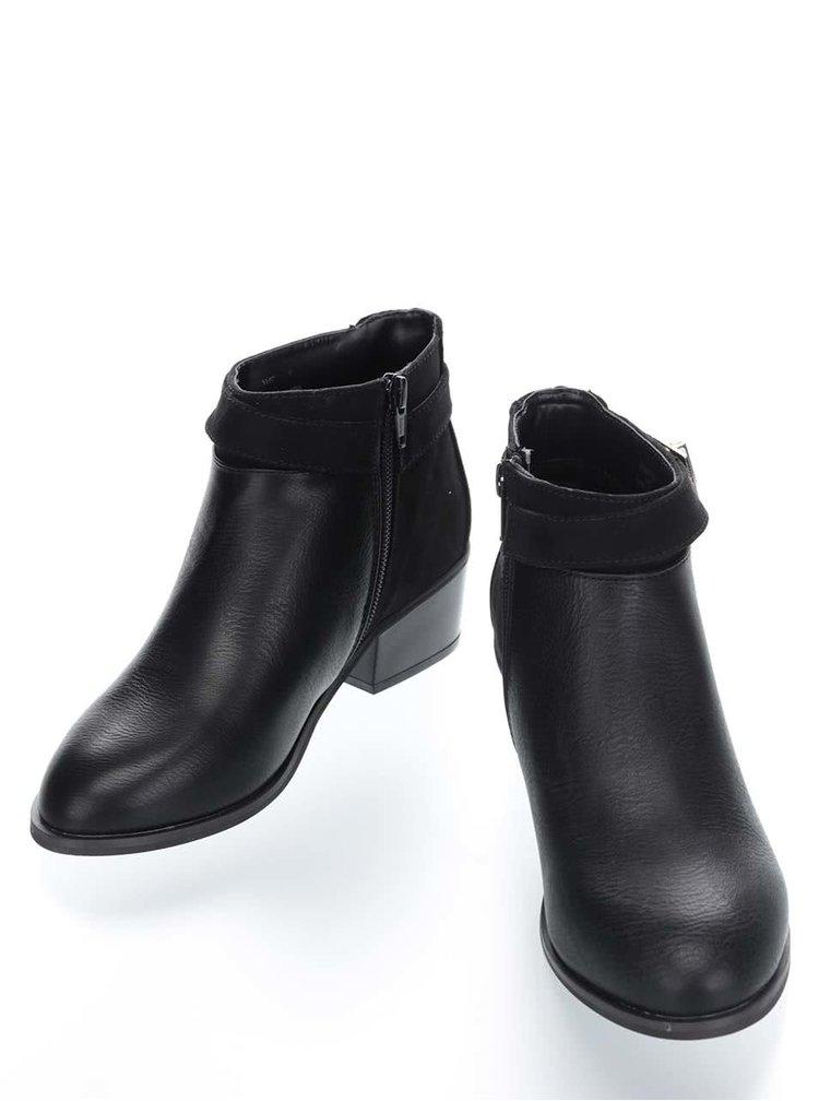 Černé kotníkové boty se sponou Miss Selfridge Alessia