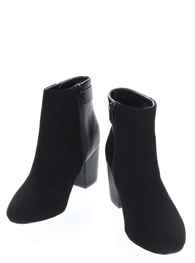 Čierne členkové topánky na podpätku v semišovej úprave Miss Selfridge Alba