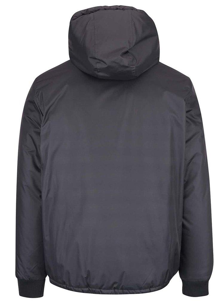 Šedá bunda na zip s kapucí Blend