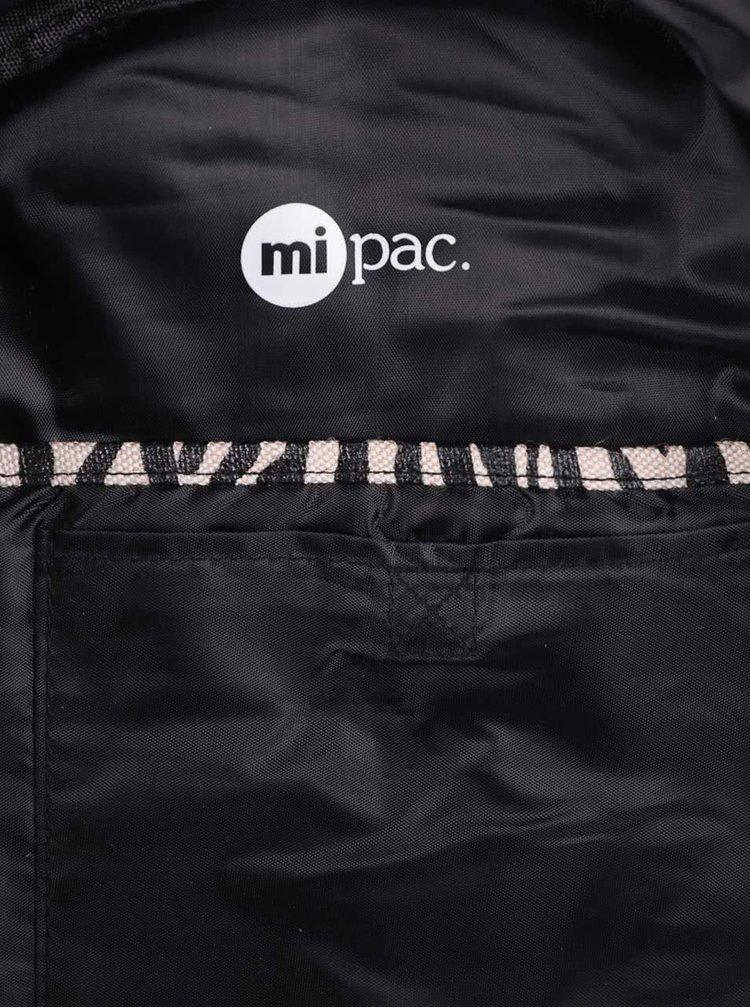 Béžovo-čierny dámsky vzorovaný batoh Mi-Pac Canvas Zebra 17 l