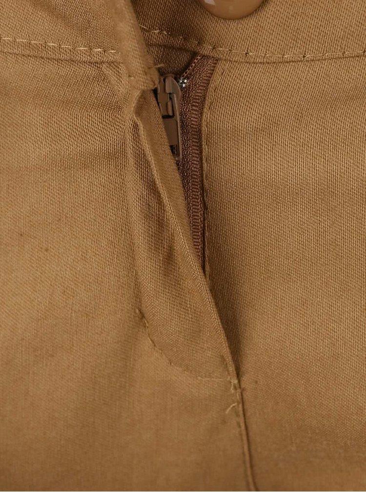 Pantaloni skinny bej Haily's Patty cu curea