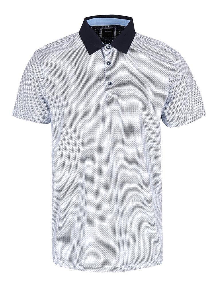 Tricou polo alb din bumbac Burton Menswear London cu imprimeu