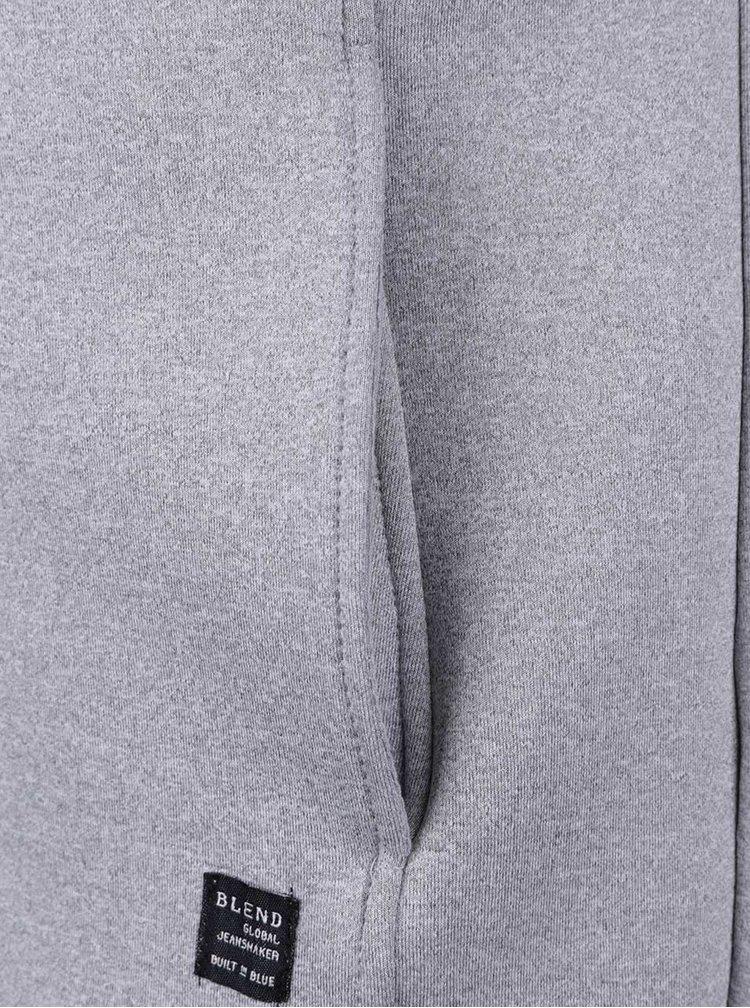 Sivá mikina so zipsom a kapucňou Blend