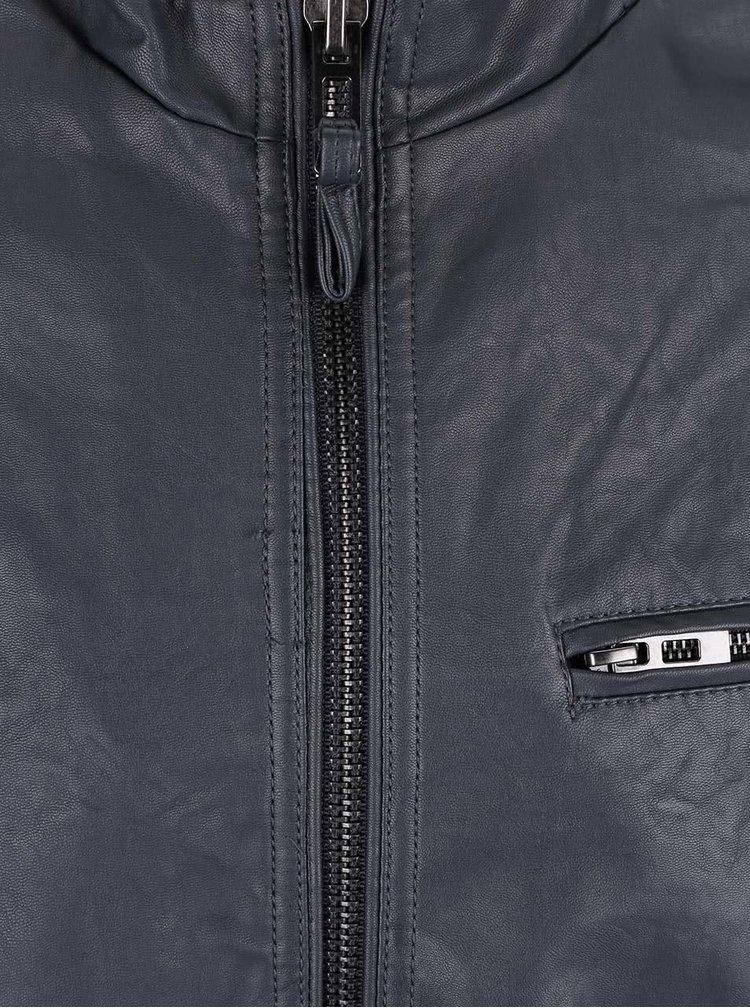 Sivá koženková bunda Blend
