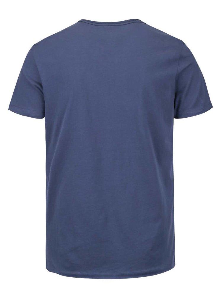 Modré triko s véčkovým výstřihem a potiskem Blend