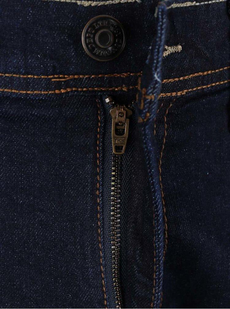 Tmavě modré džíny s hnědým prošíváním Burton Menswear London