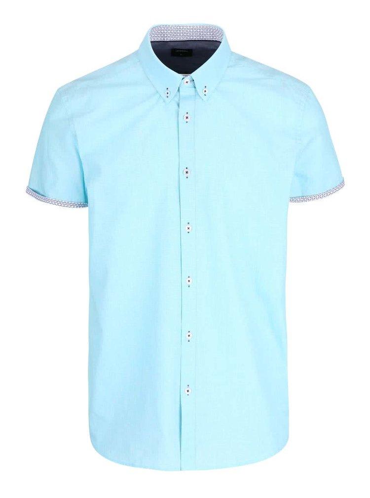 Svetlomodrá košeľa s krátkym rukávom Burton Menswear London