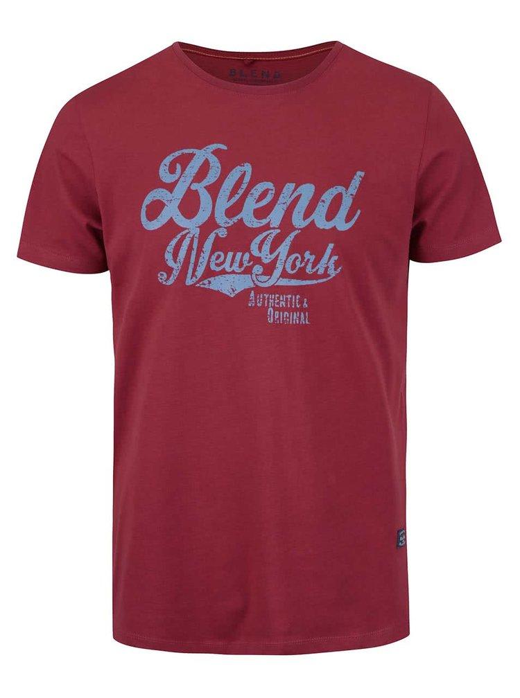 Tricou visiniu cu print Blend din bumbac
